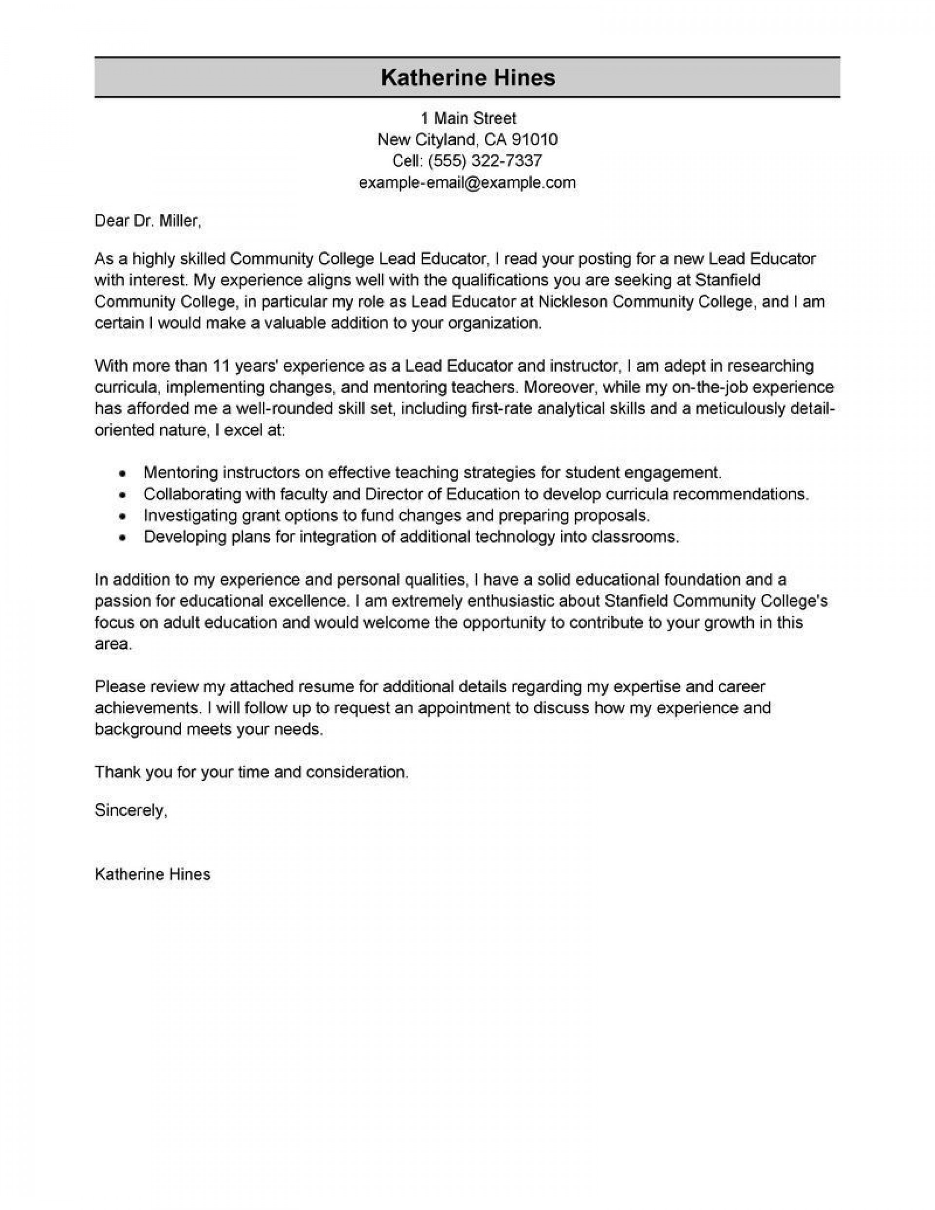 000 Unforgettable Modern Cover Letter Example High Def  2019 Sample1920