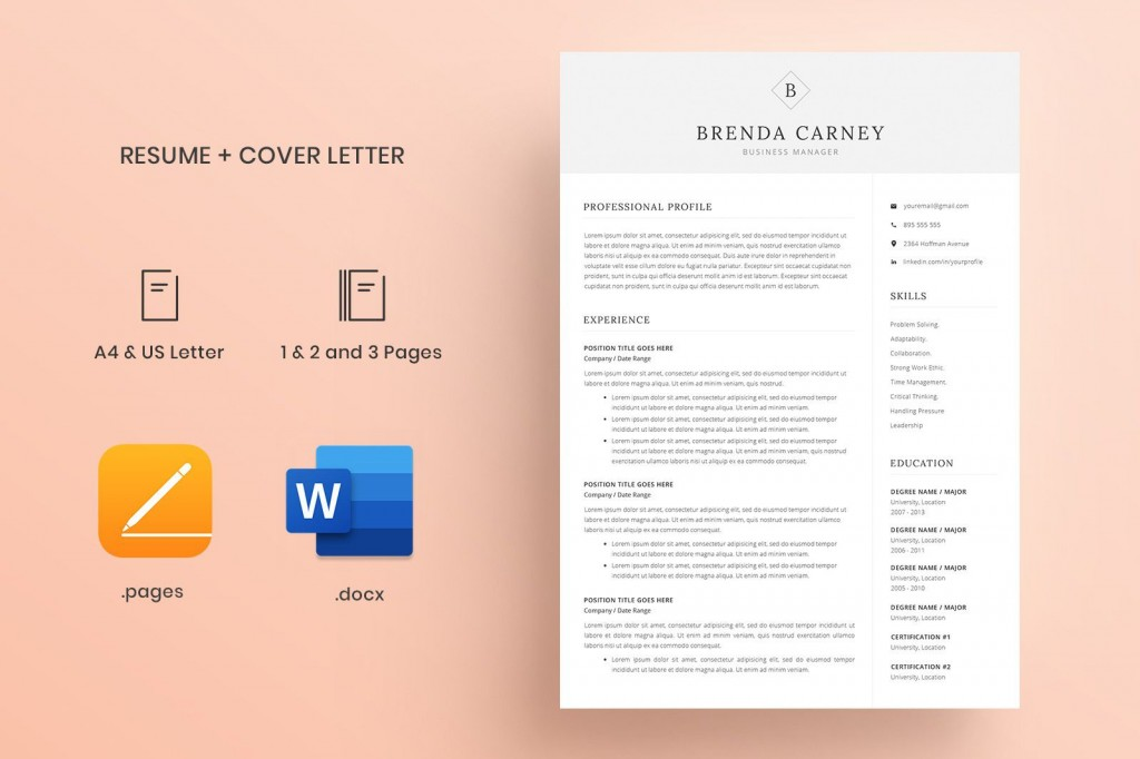 000 Unforgettable Resume Cover Letter Template Docx High Definition Large