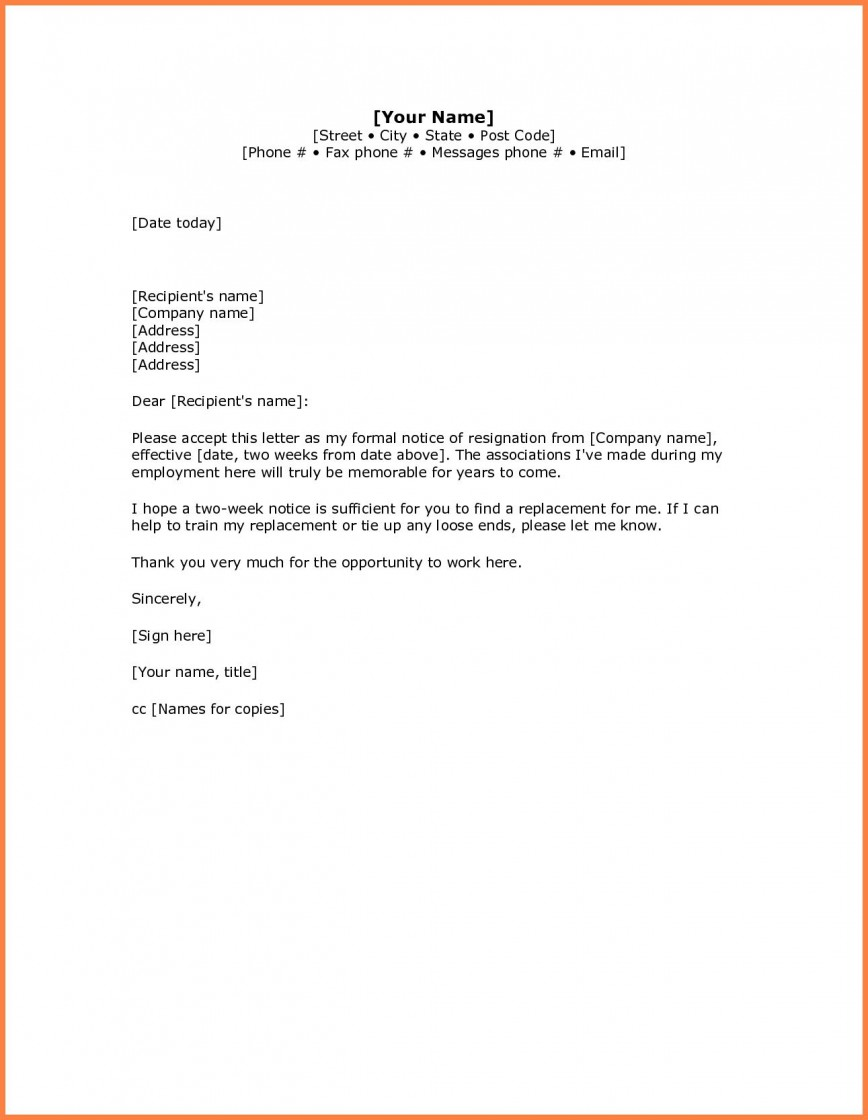 Simple Resignation Letter Samples from www.addictionary.org