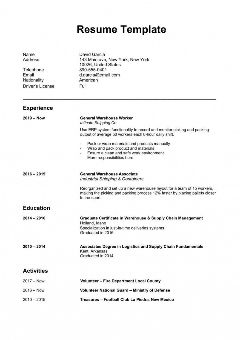 000 Unforgettable Simple Resume Template Download In M Word High Def Large