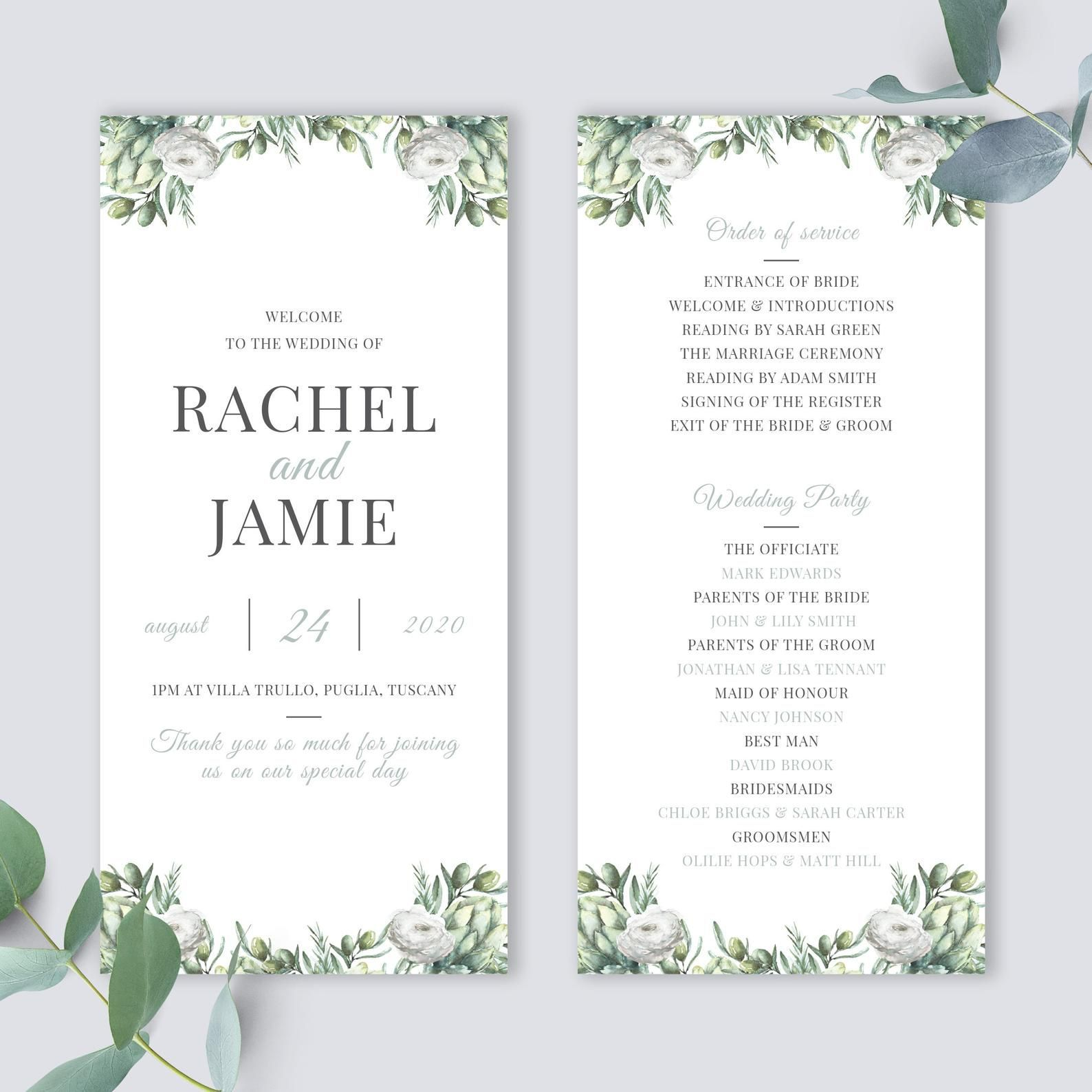 000 Unforgettable Wedding Order Of Service Template Photo  Pdf Publisher Microsoft WordFull