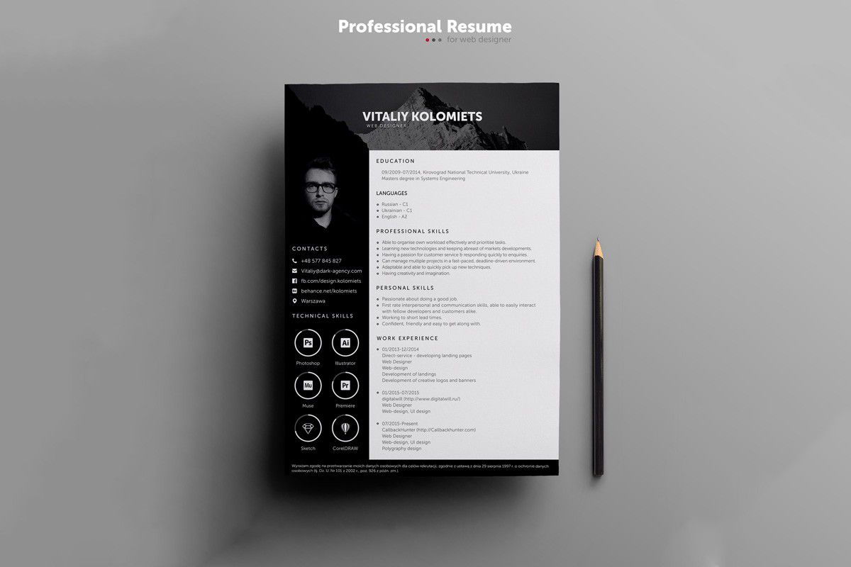 000 Unique Creative Cv Template Photoshop Free Inspiration Full