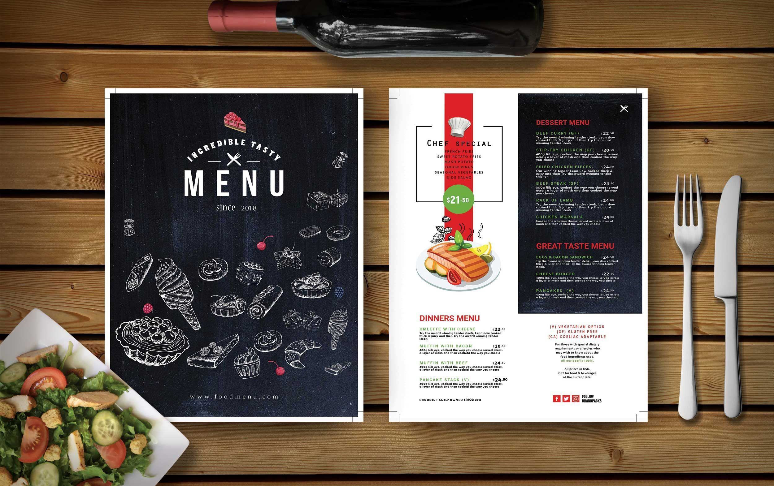 000 Unique Food Menu Card Template Free Download High Resolution Full