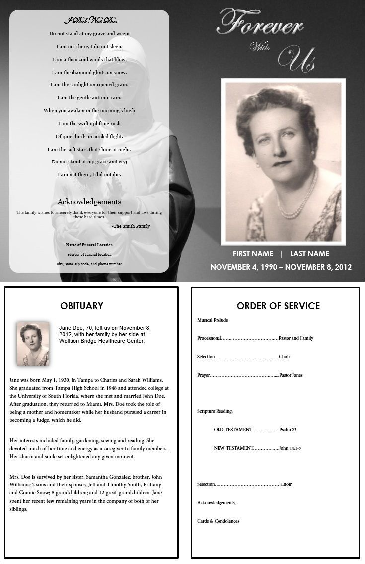 000 Unique Free Funeral Pamphlet Template Concept  Word Simple Program Download PsdFull