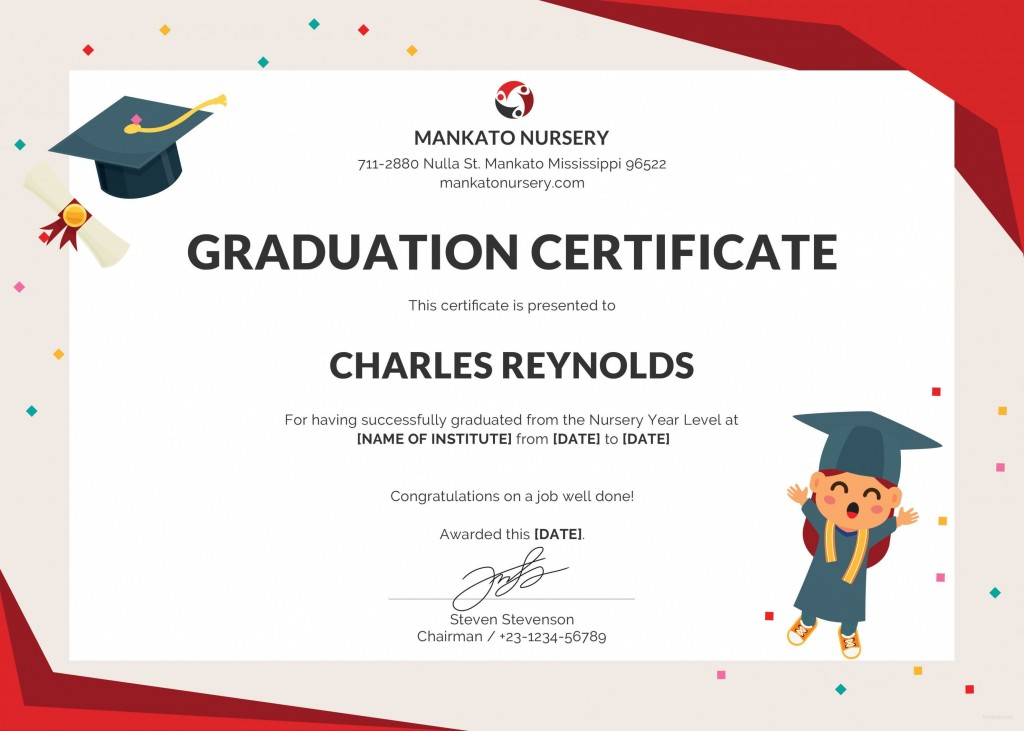 000 Unique Graduation Certificate Template Word Design  Wording Example Preschool GiftLarge