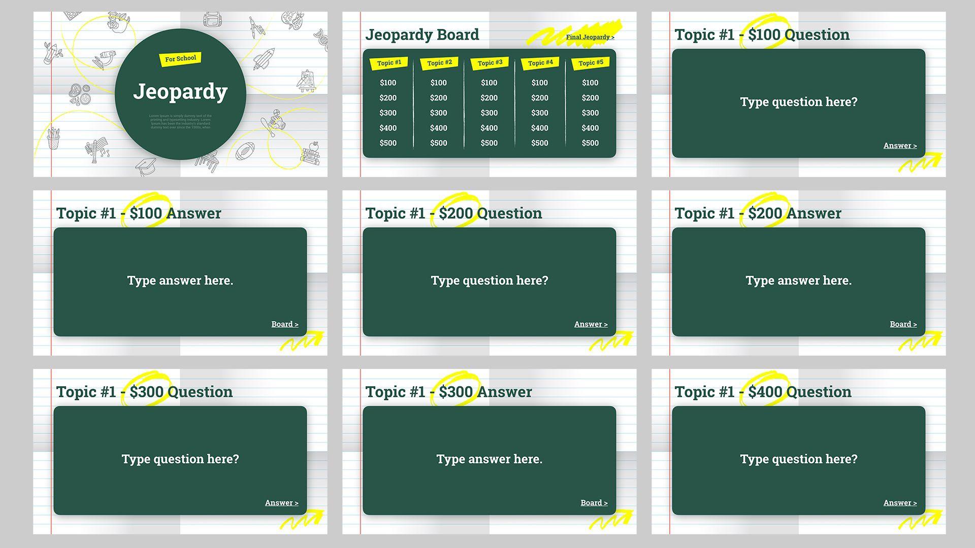 000 Unique Jeopardy Template Google Slide Sample  Slides Board Blank BestFull
