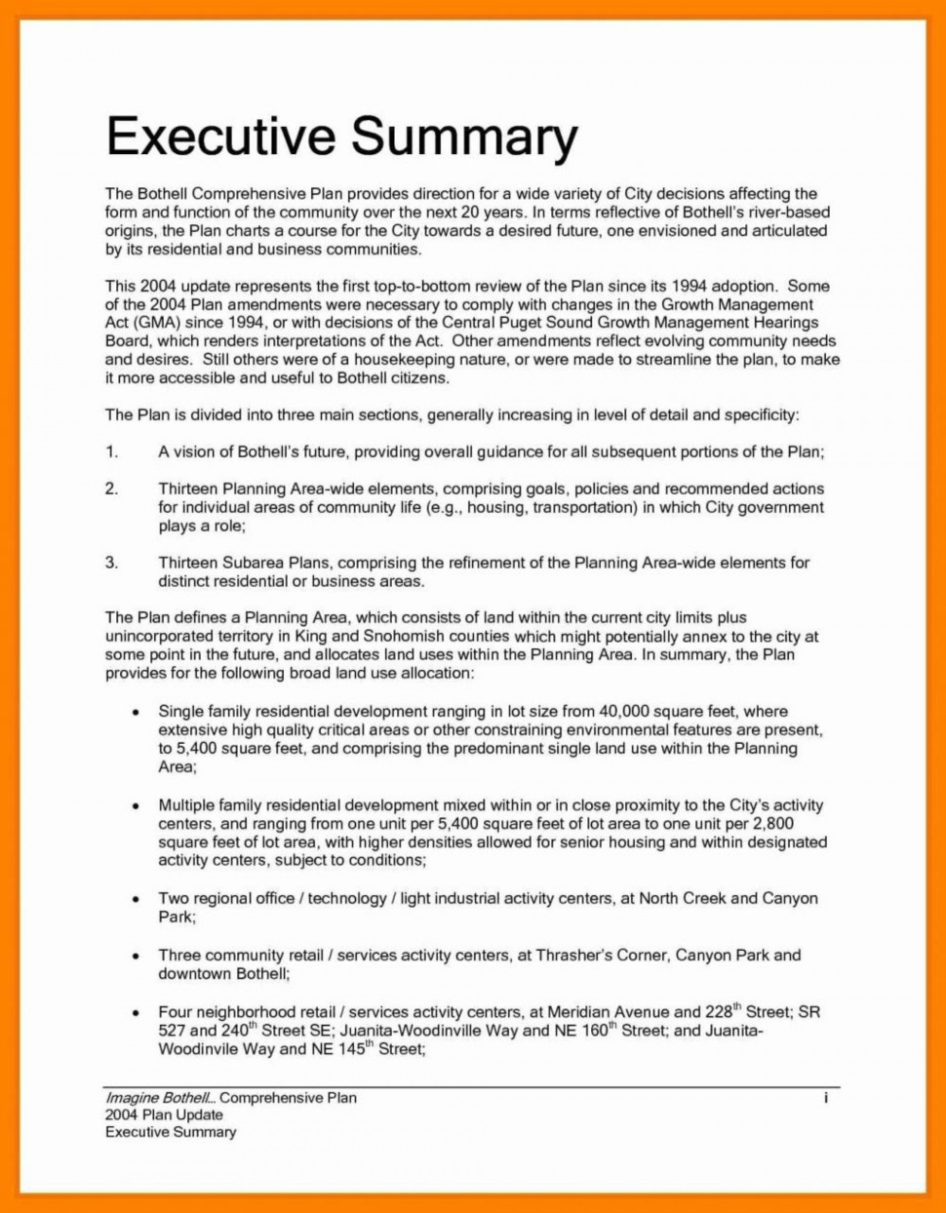 000 Unique Project Executive Summary Template Picture  Example Ppt Proposal Doc1920