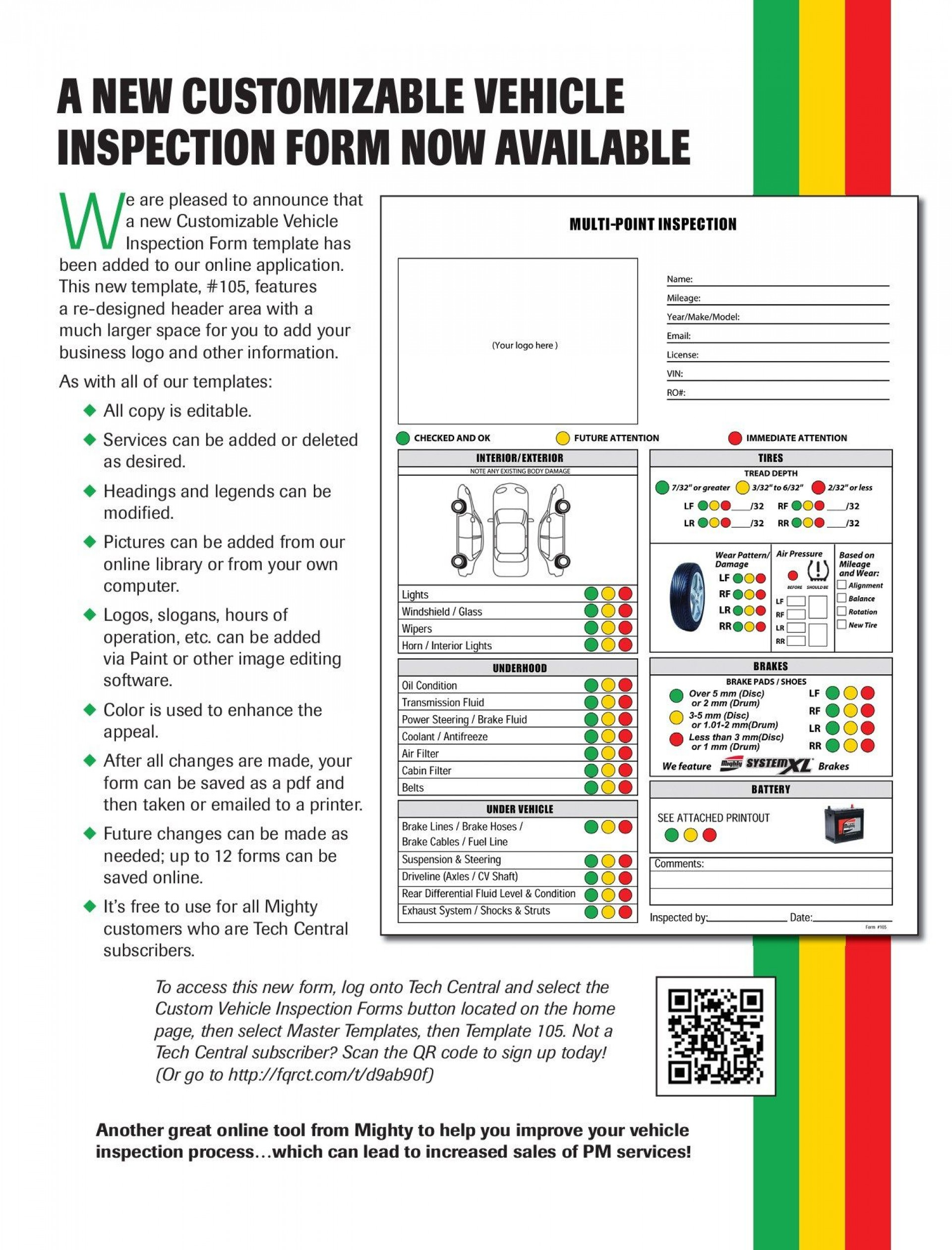 000 Unique Vehicle Inspection Form Template Pdf Photo  Used Printable1920