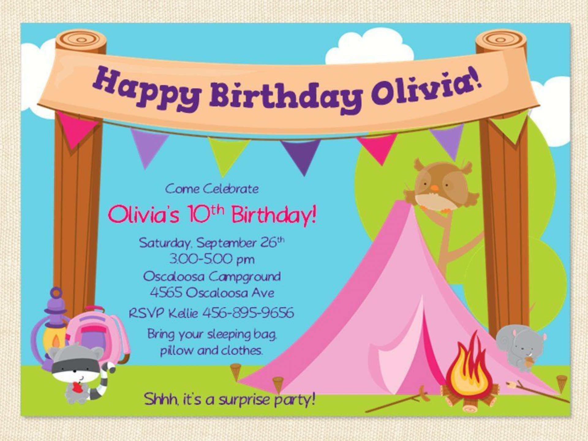 000 Unusual Camping Invitation Template Free High Resolution  Party Birthday1920
