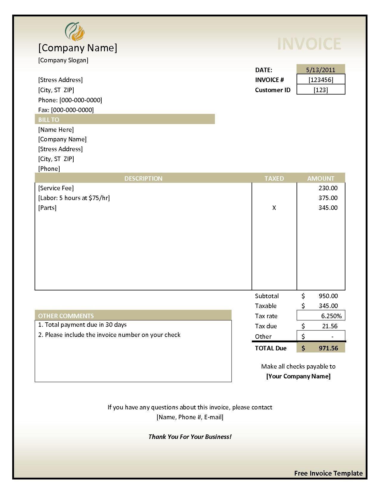 000 Unusual Free Invoice Template For Word Sample  Receipt Microsoft Printable UkFull