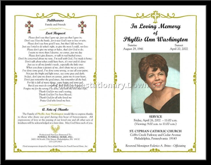 000 Unusual Free Printable Celebration Of Life Program Template Photo 728