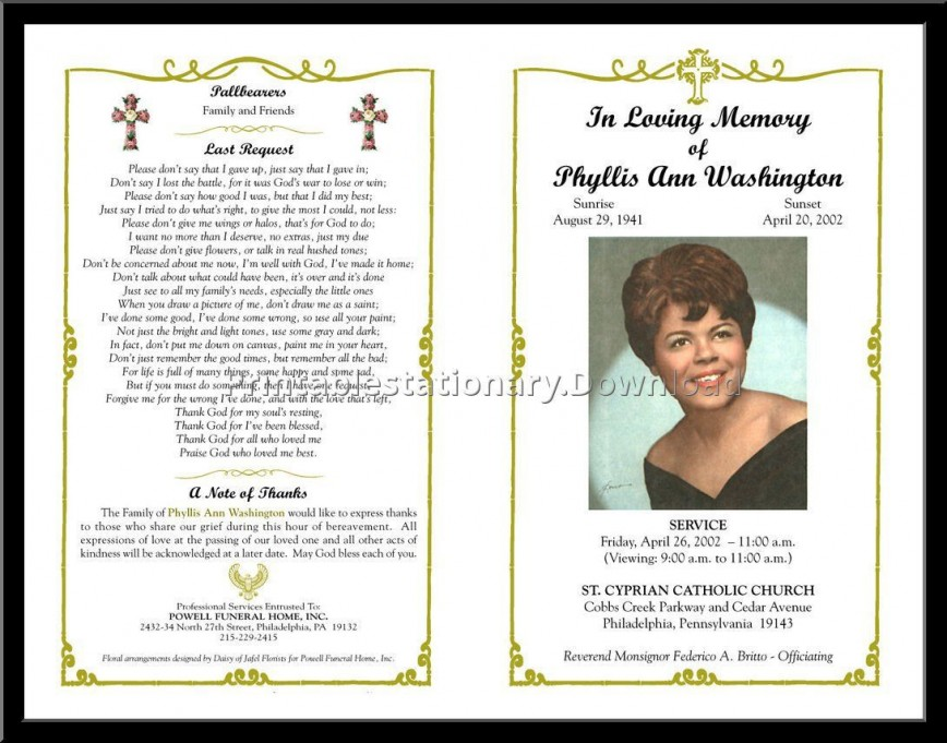 000 Unusual Free Printable Celebration Of Life Program Template Photo 868