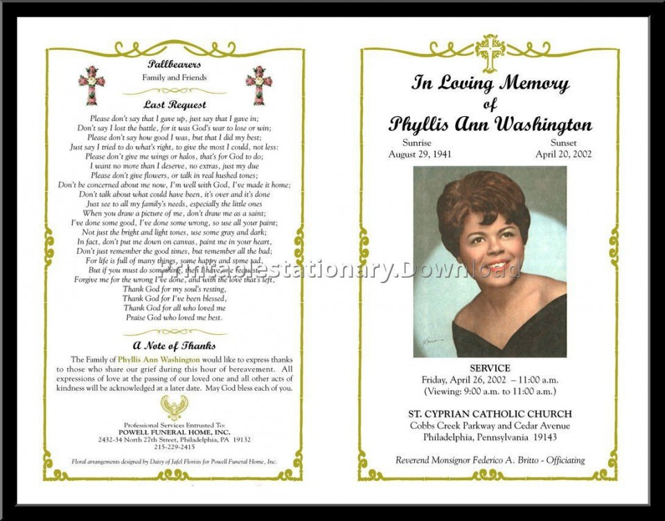 000 Unusual Free Printable Celebration Of Life Program Template Photo 960