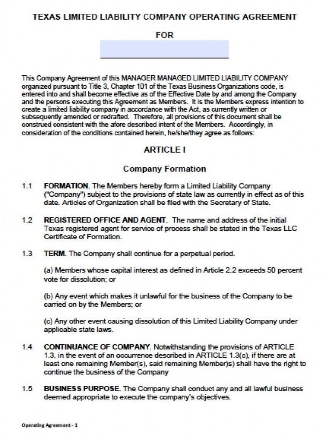 000 Unusual Llc Partnership Agreement Template Photo  Free Operating1400