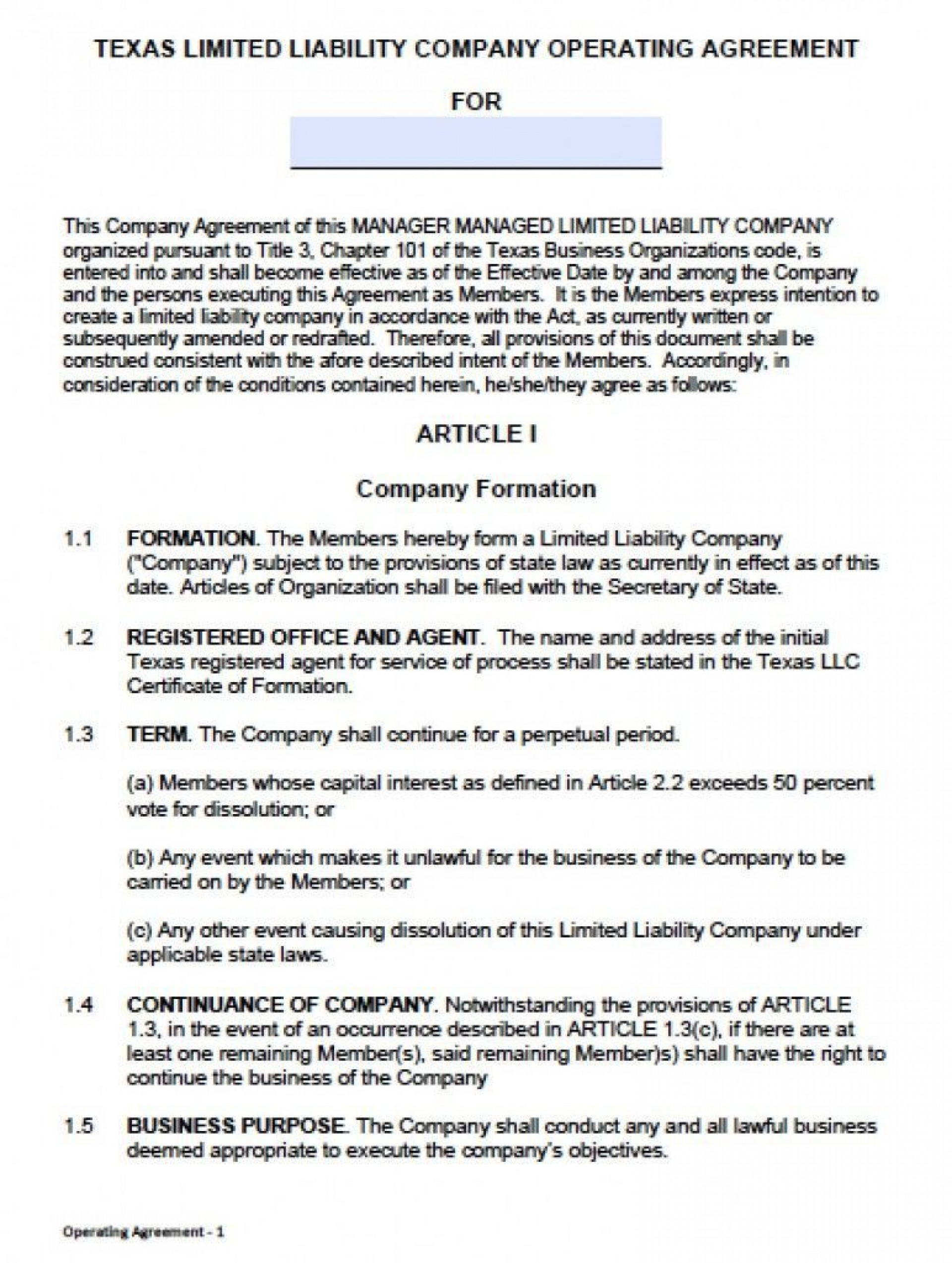 000 Unusual Llc Partnership Agreement Template Photo  Free Operating1920