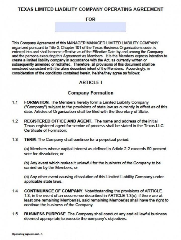 000 Unusual Llc Partnership Agreement Template Photo  Free Operating728