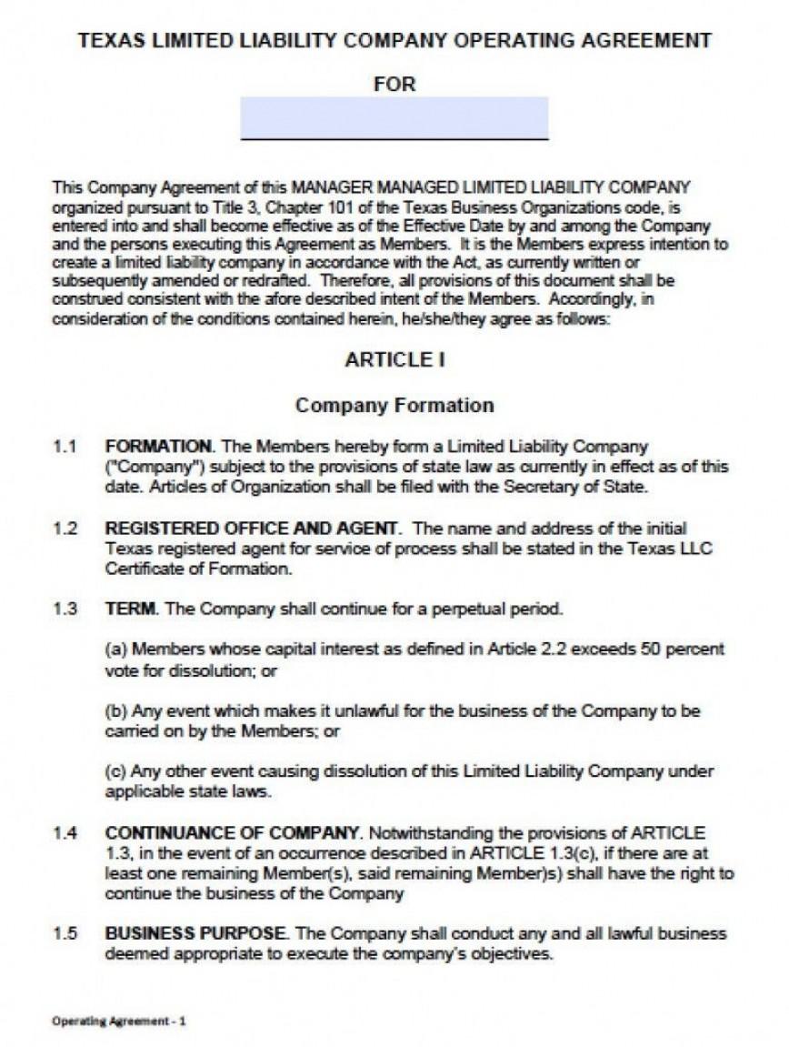 000 Unusual Llc Partnership Agreement Template Photo  Free Operating868