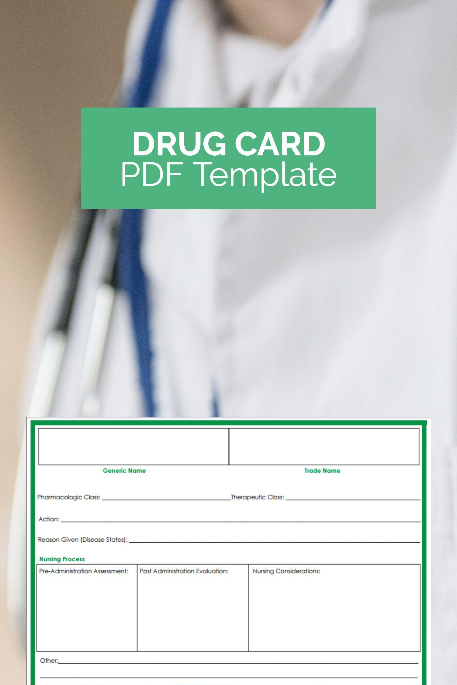 000 Unusual Nursing Drug Card Template Design  School Download PrintableFull