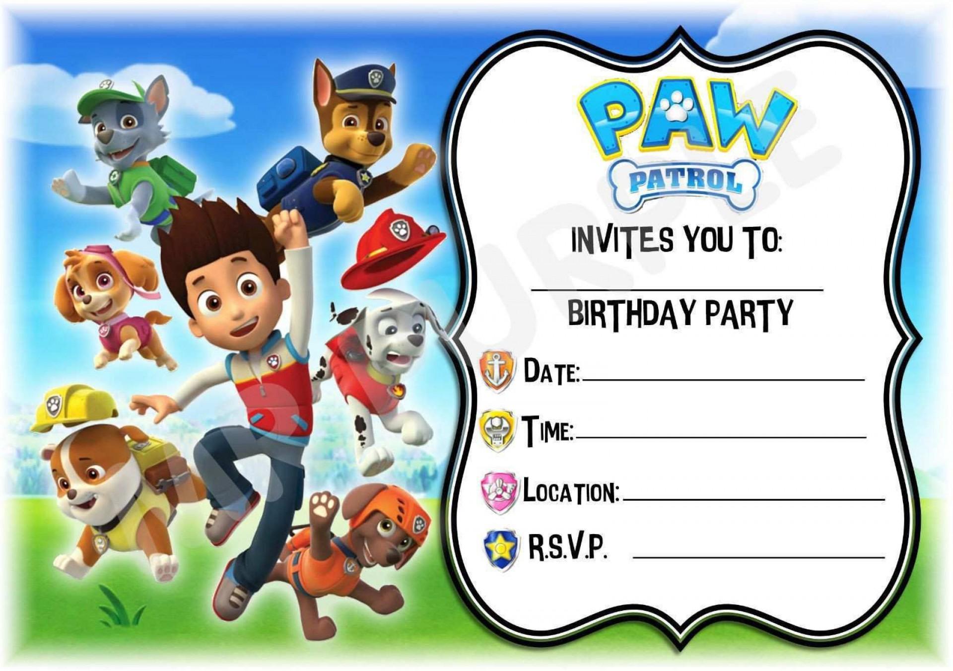 000 Unusual Paw Patrol Birthday Invitation Template Highest Quality  Party Invite Wording Skye Free1920