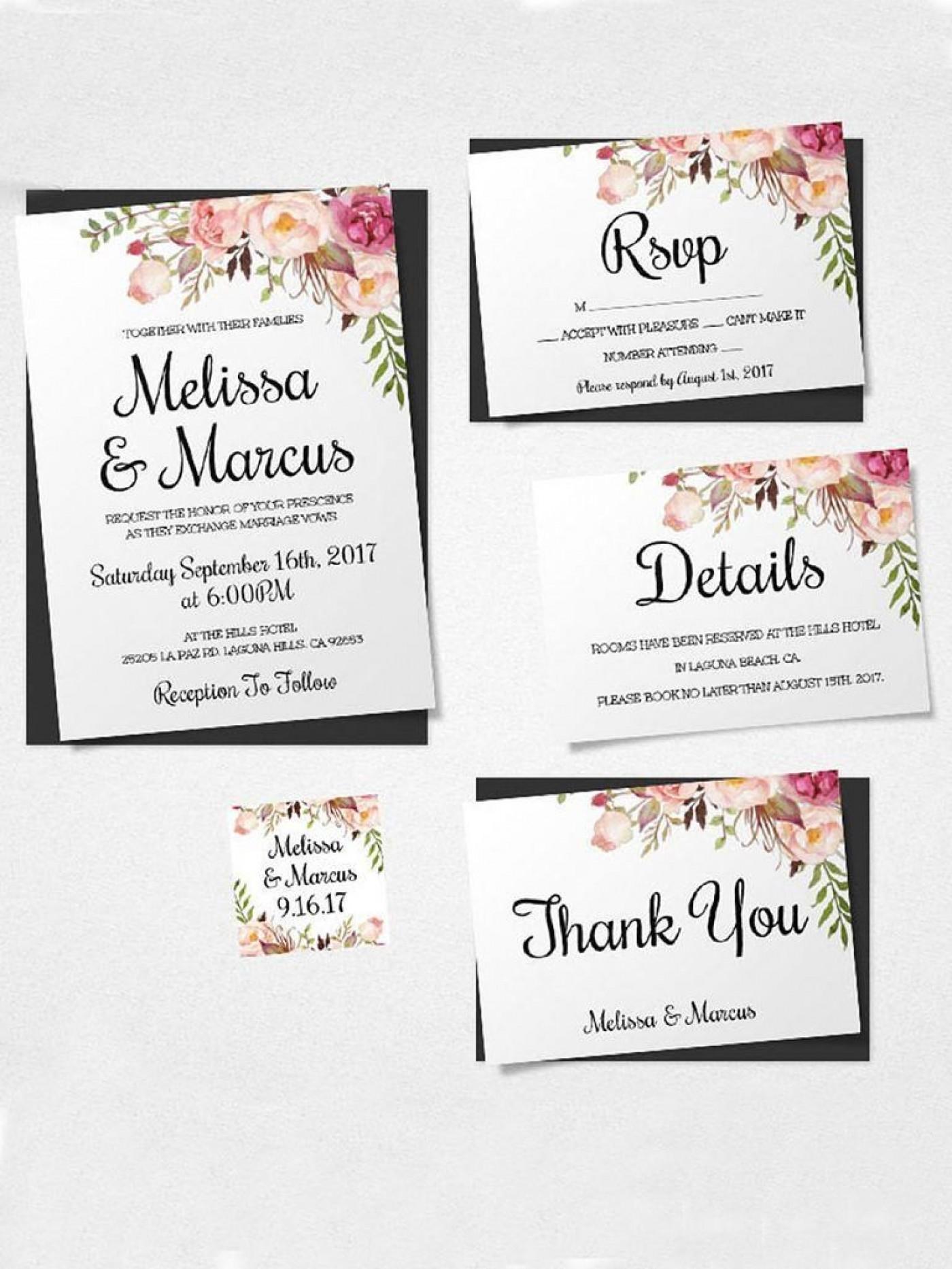 000 Unusual Printable Wedding Invitation Template Sample  Free For Microsoft Word Vintage1400