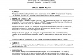 000 Unusual Social Media Policy Template Example  Free