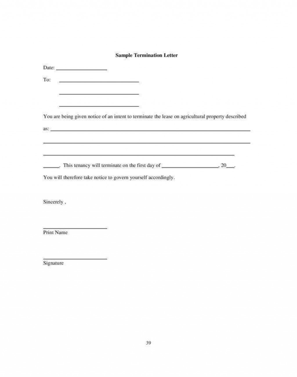 000 Unusual Template Letter To Terminate Rental Agreement Highest Quality  End Tenancy For Landlord EndingLarge