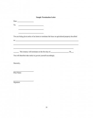 000 Unusual Template Letter To Terminate Rental Agreement Highest Quality  End Tenancy For Landlord Ending320