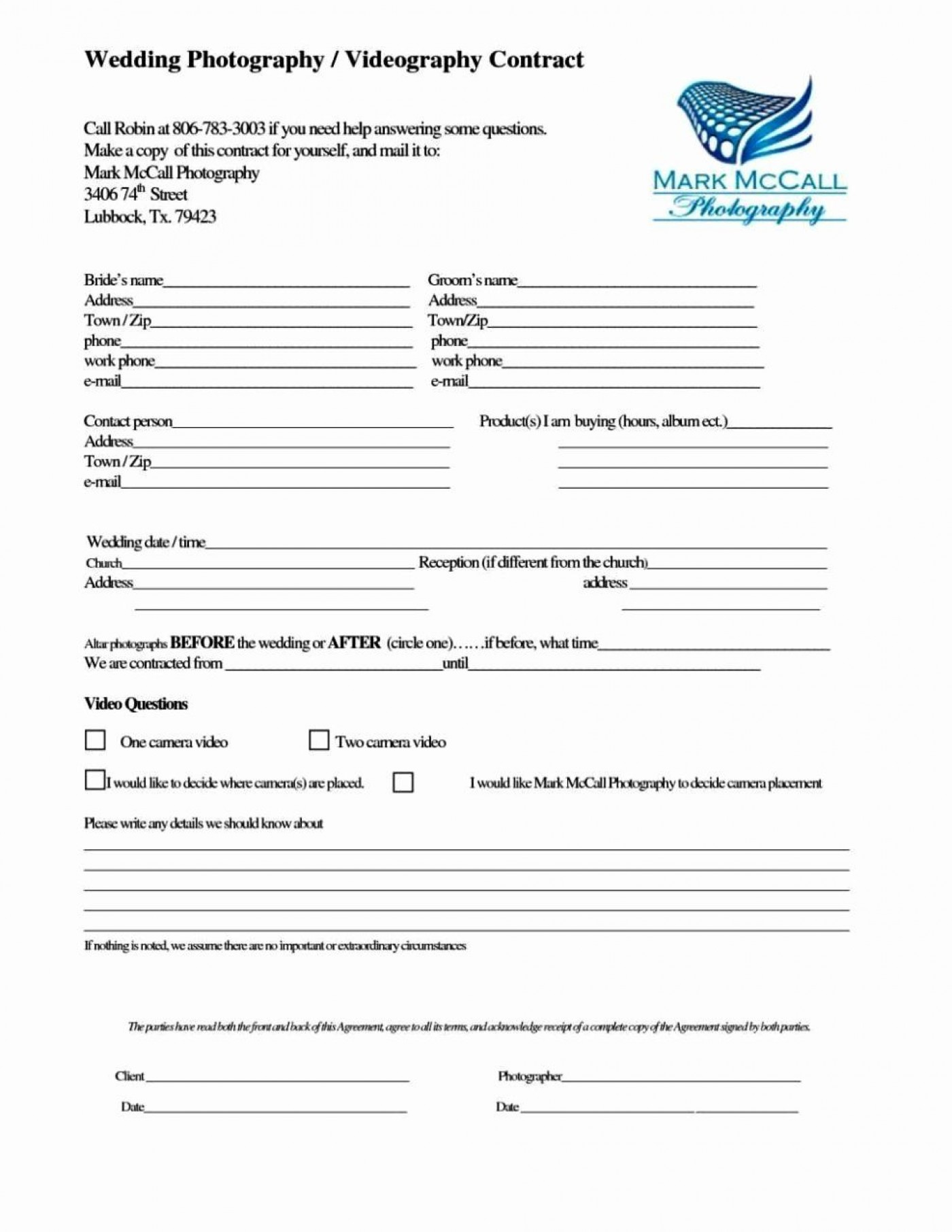 000 Unusual Wedding Videography Contract Template High Resolution  Pdf Example Word1400