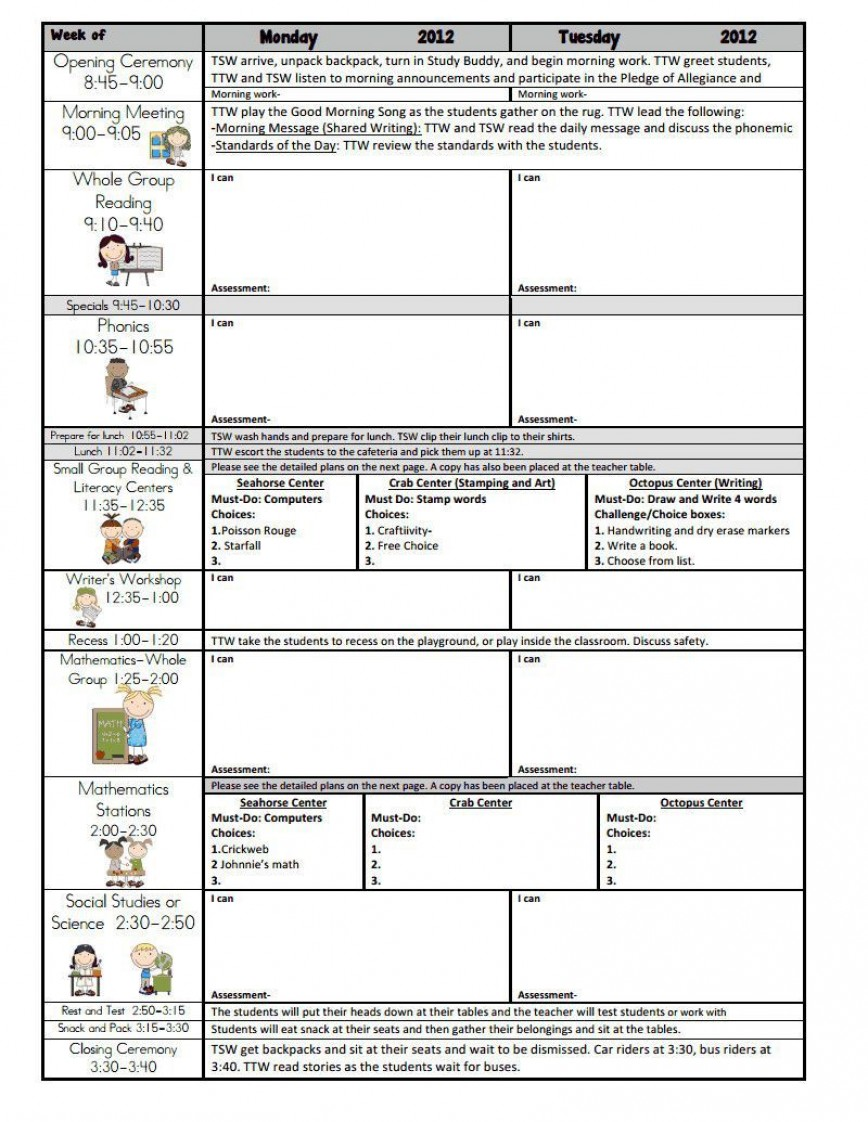 000 Unusual Weekly Lesson Plan Template Google Doc Image  Ubd Siop868