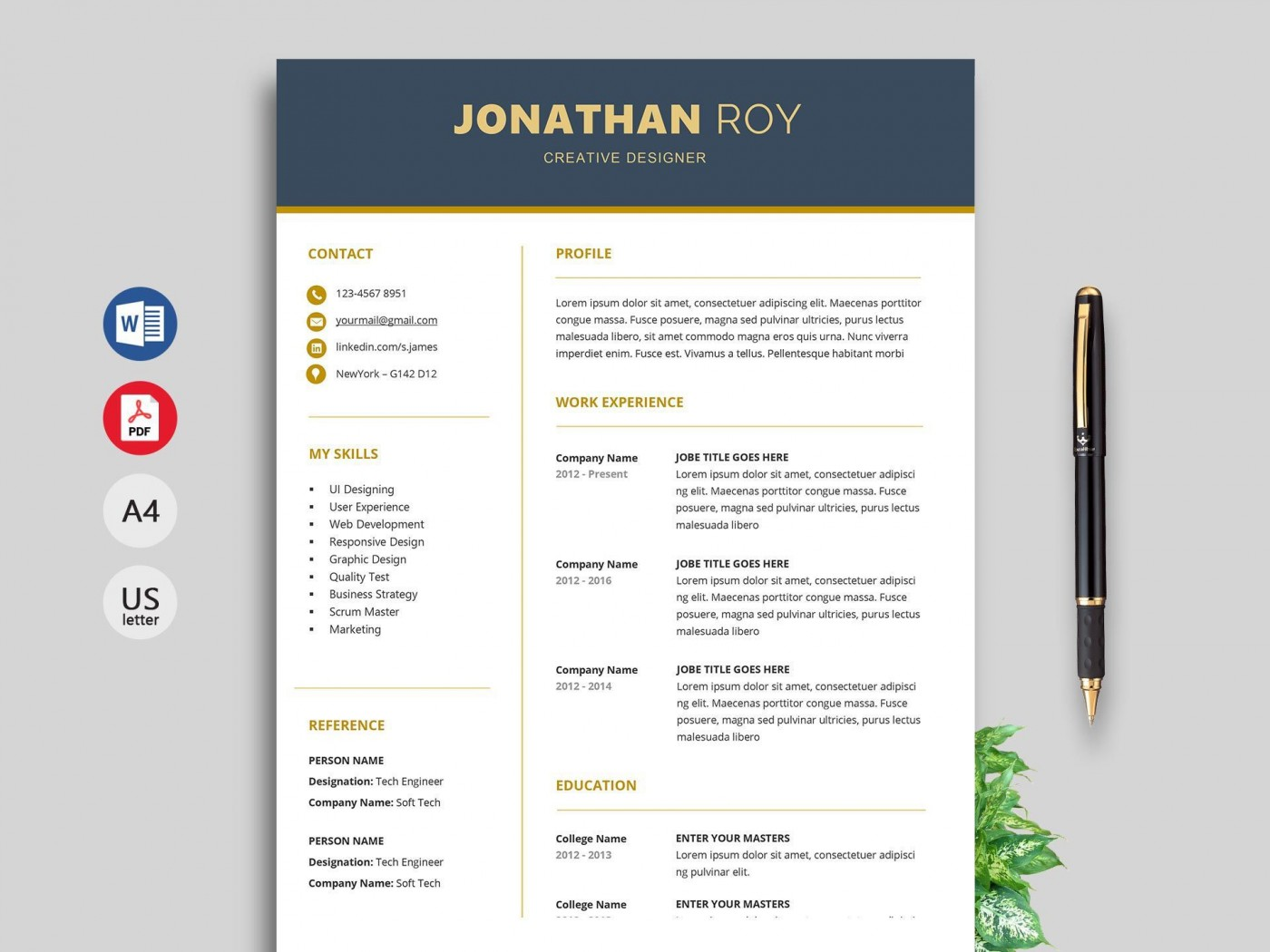 000 Unusual Word Resume Template Free Download Example  M Creative Curriculum Vitae Cv1400