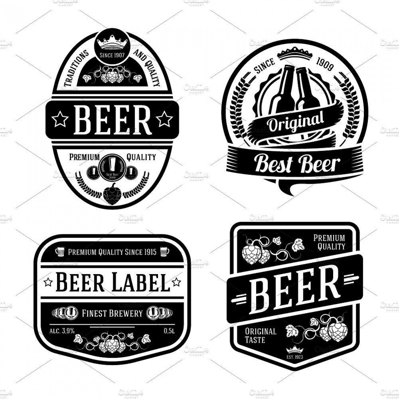 000 Wonderful Beer Label Design Template High Resolution  Free1400