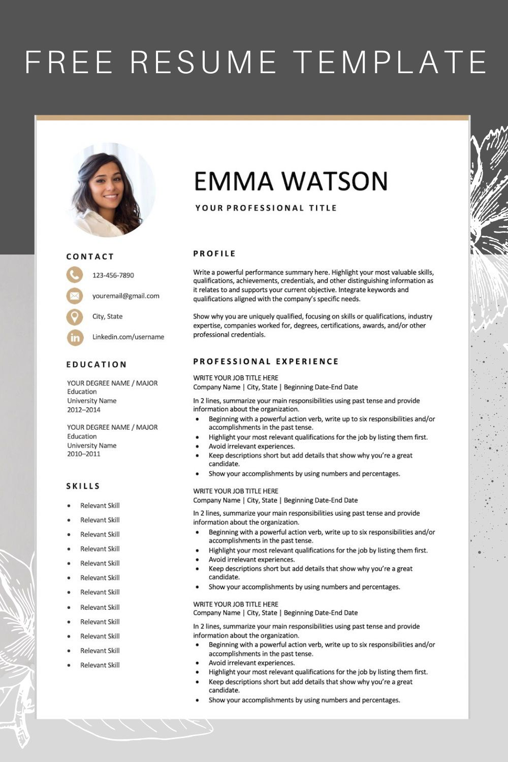 000 Wonderful Free Downloadable Resume Template Inspiration  Templates For Page Download Format Fresher PdfFull