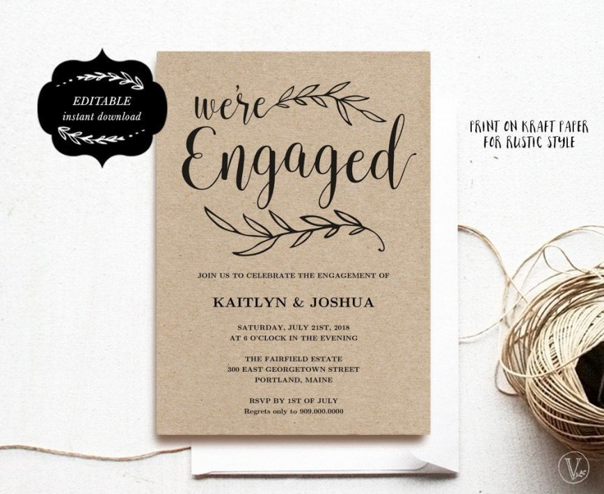 000 Wonderful Free Engagement Invitation Template Online With Photo Design 868