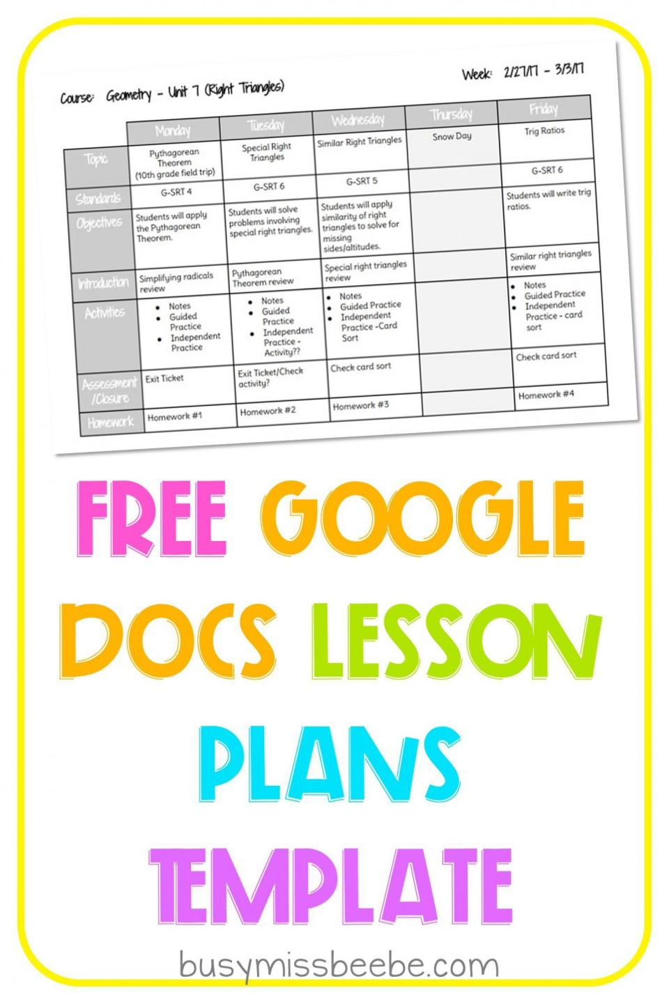 000 Wonderful Free Weekly Lesson Plan Template Google Doc Picture 960