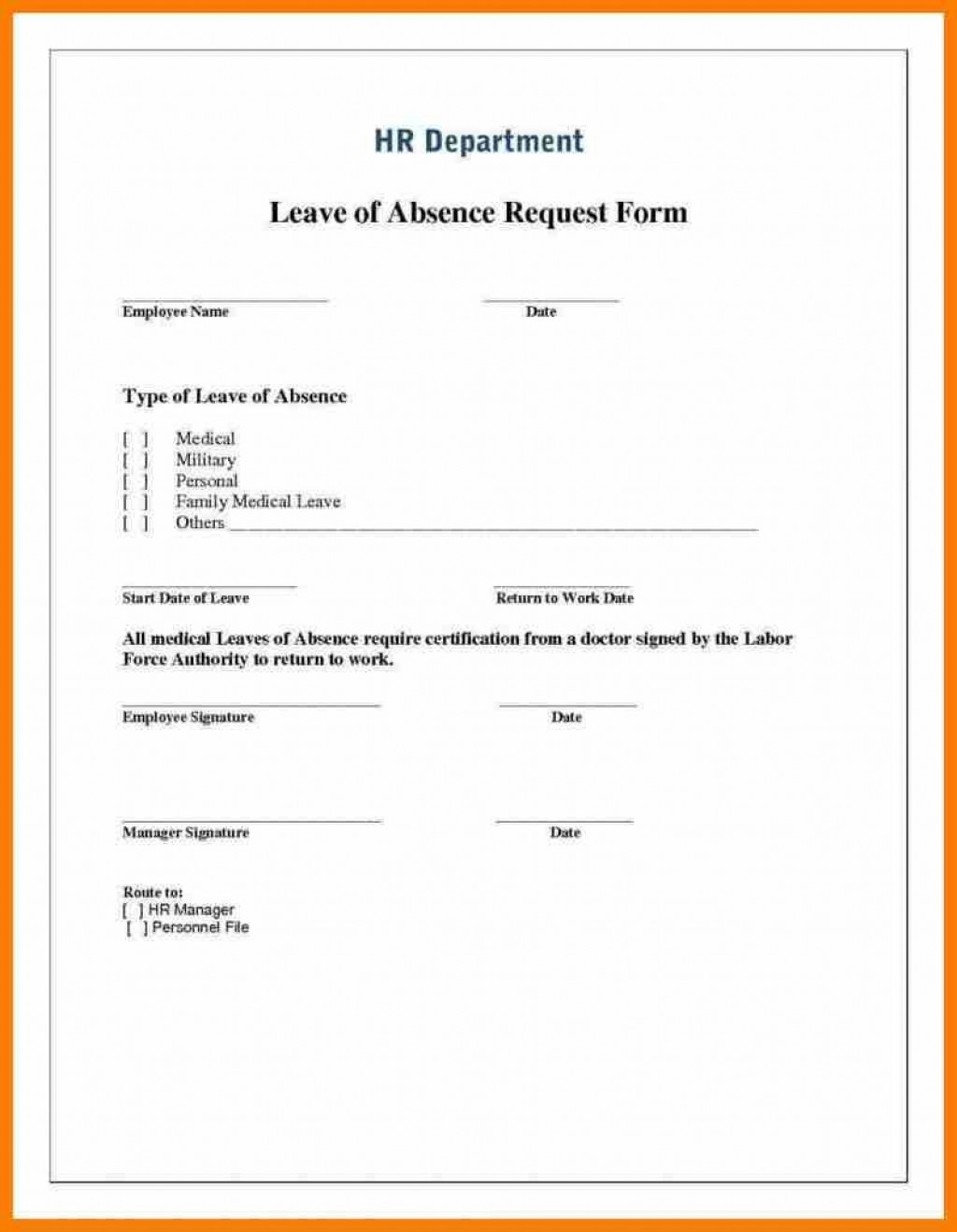 000 Wonderful Leave Of Absence Form Template Photo  Medical Request FreeLarge