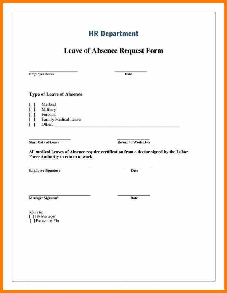 000 Wonderful Leave Of Absence Form Template Photo  Medical Request FreeFull