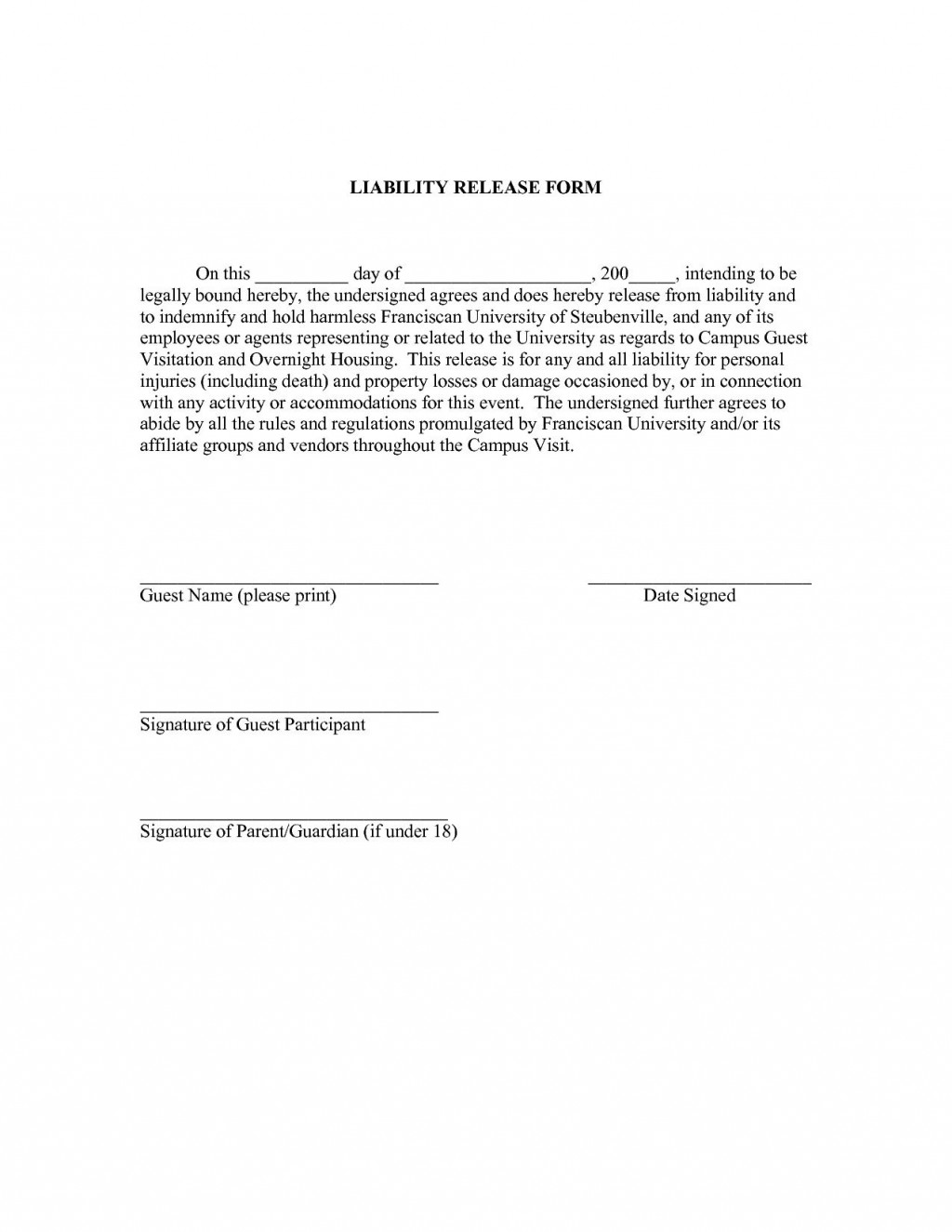 000 Wonderful Liability Release Form Template Highest Quality  Free GeneralLarge