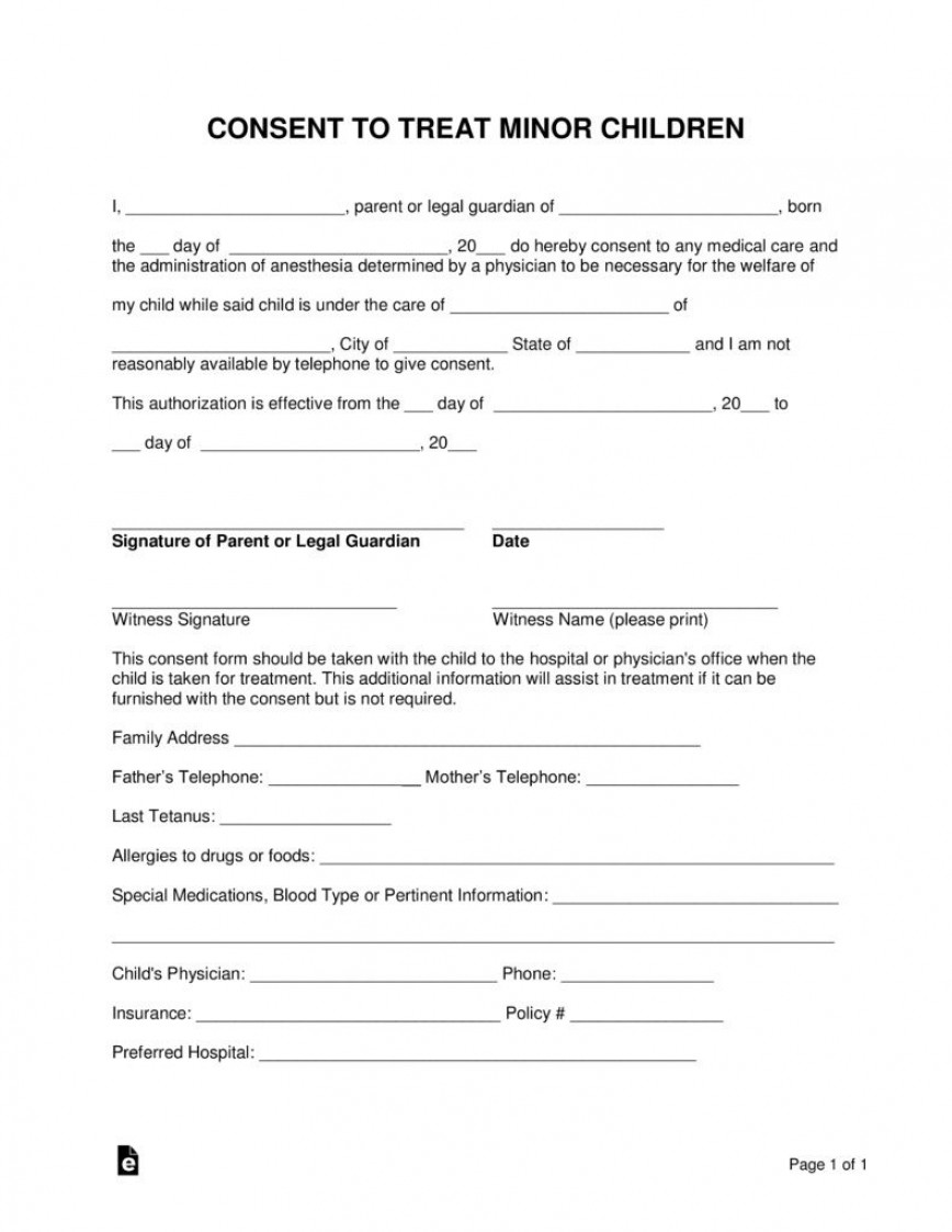 000 Wonderful Medical Release Form Template High Definition  Free Child Consent Pdf Letter For Minor Record Authorization