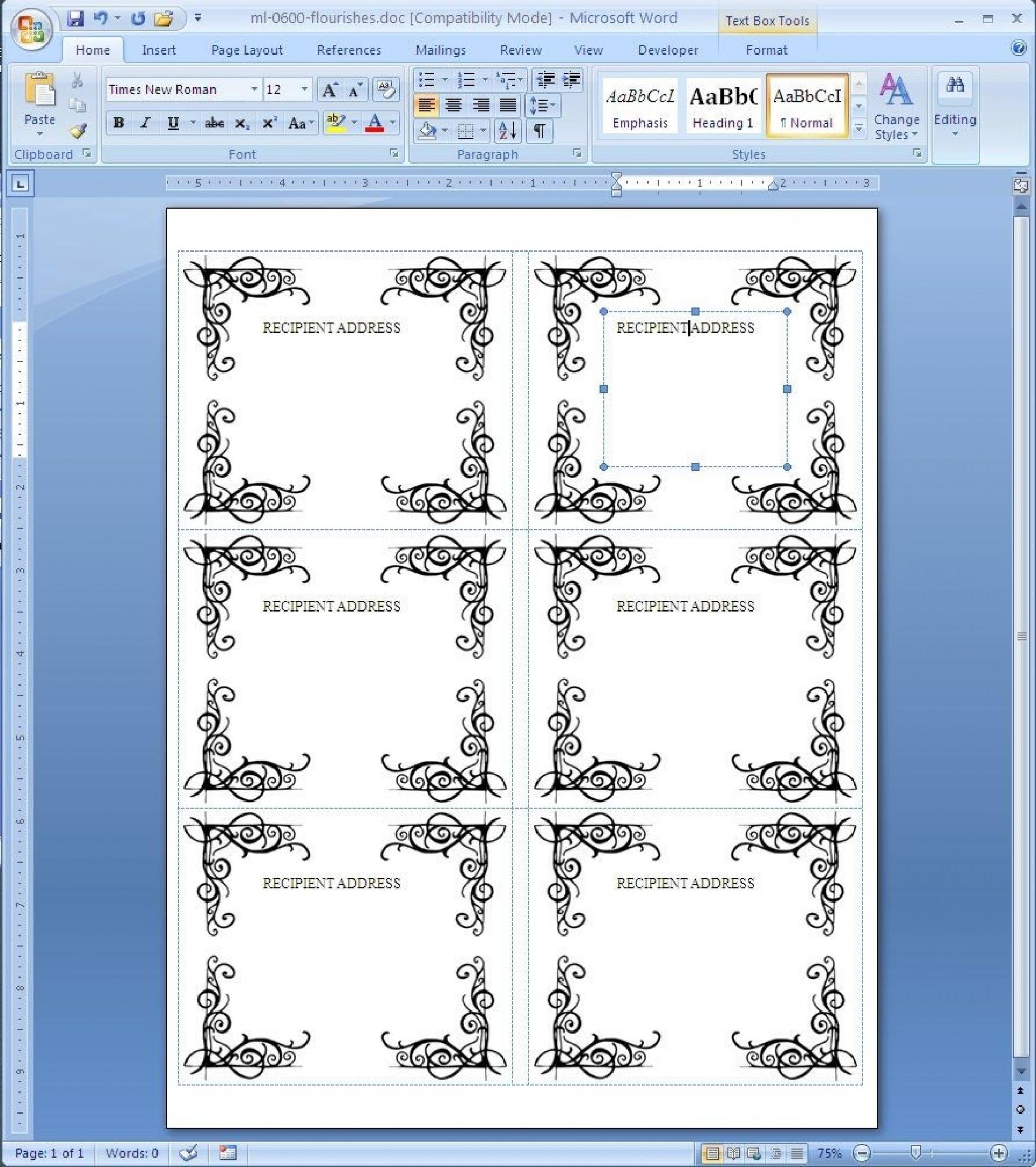 000 Wonderful Microsoft Word Label Template Sample  Templates 24 Per Sheet Addres 21 Free Download1920