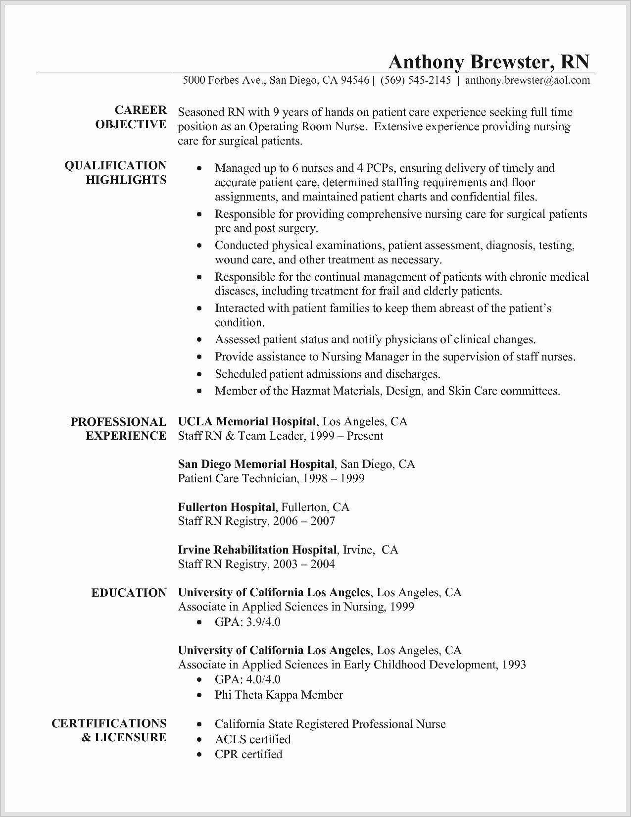 New Grad Nursing Resume Template Addictionary