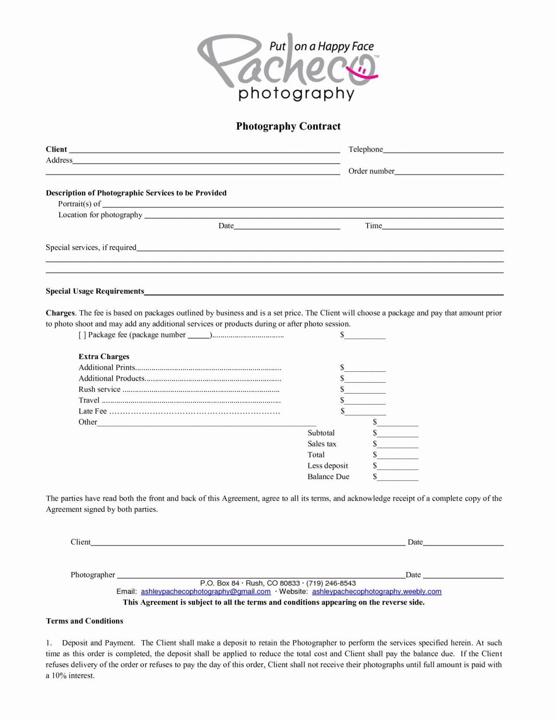 000 Wonderful Portrait Photography Contract Template Sample  Pdf Australia1920