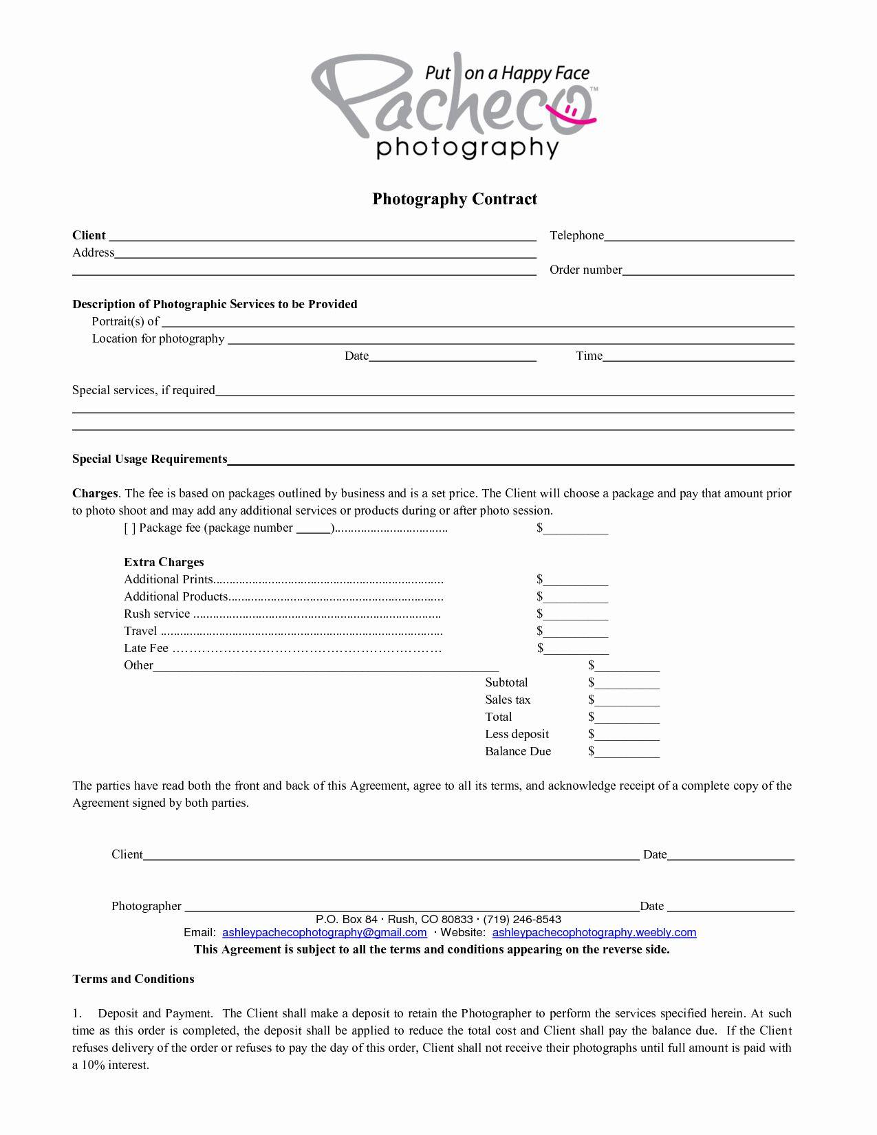 000 Wonderful Portrait Photography Contract Template Sample  Pdf AustraliaFull