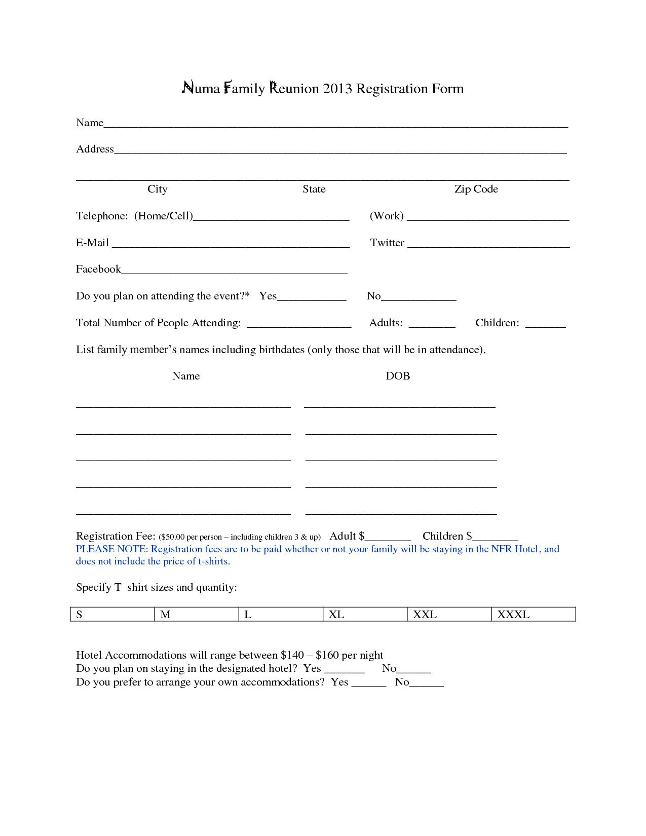 000 Wonderful Registration Form Template Word High Def  Conference FreeFull