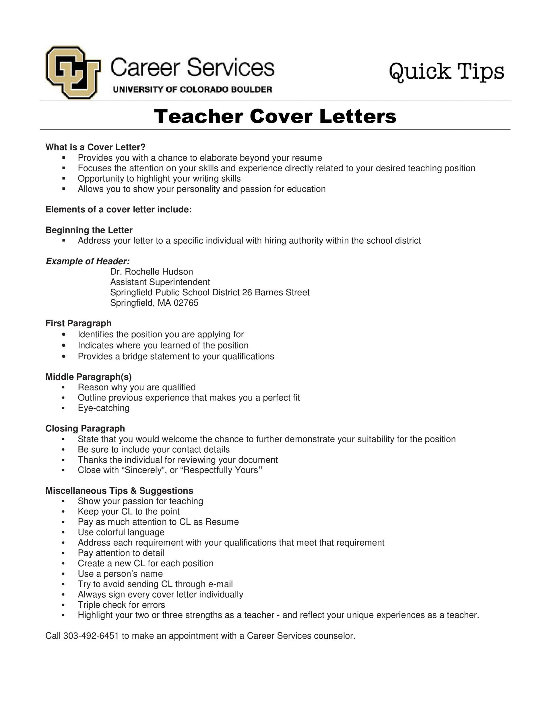 000 Wonderful Teacher Cover Letter Template Idea  Teaching Job1920