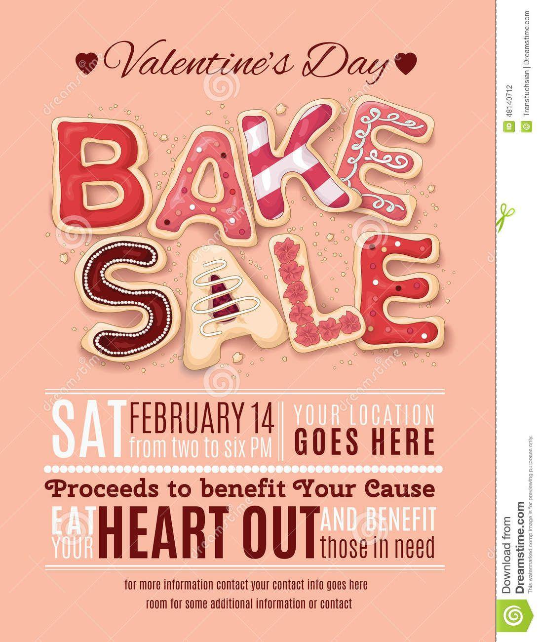 000 Wonderful Valentine Bake Sale Flyer Template Free Example  Valentine'Full