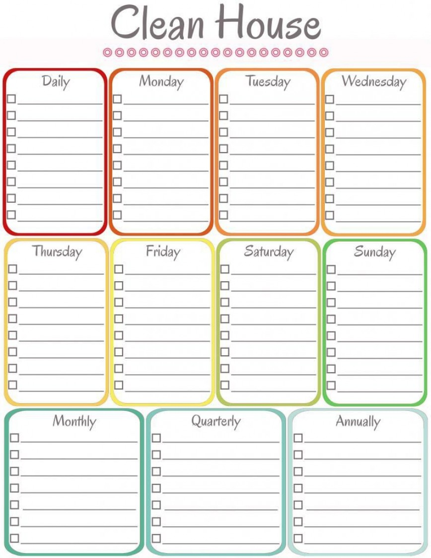 000 Wonderful Weekly Cleaning Schedule Template High Resolution  House Free Printable