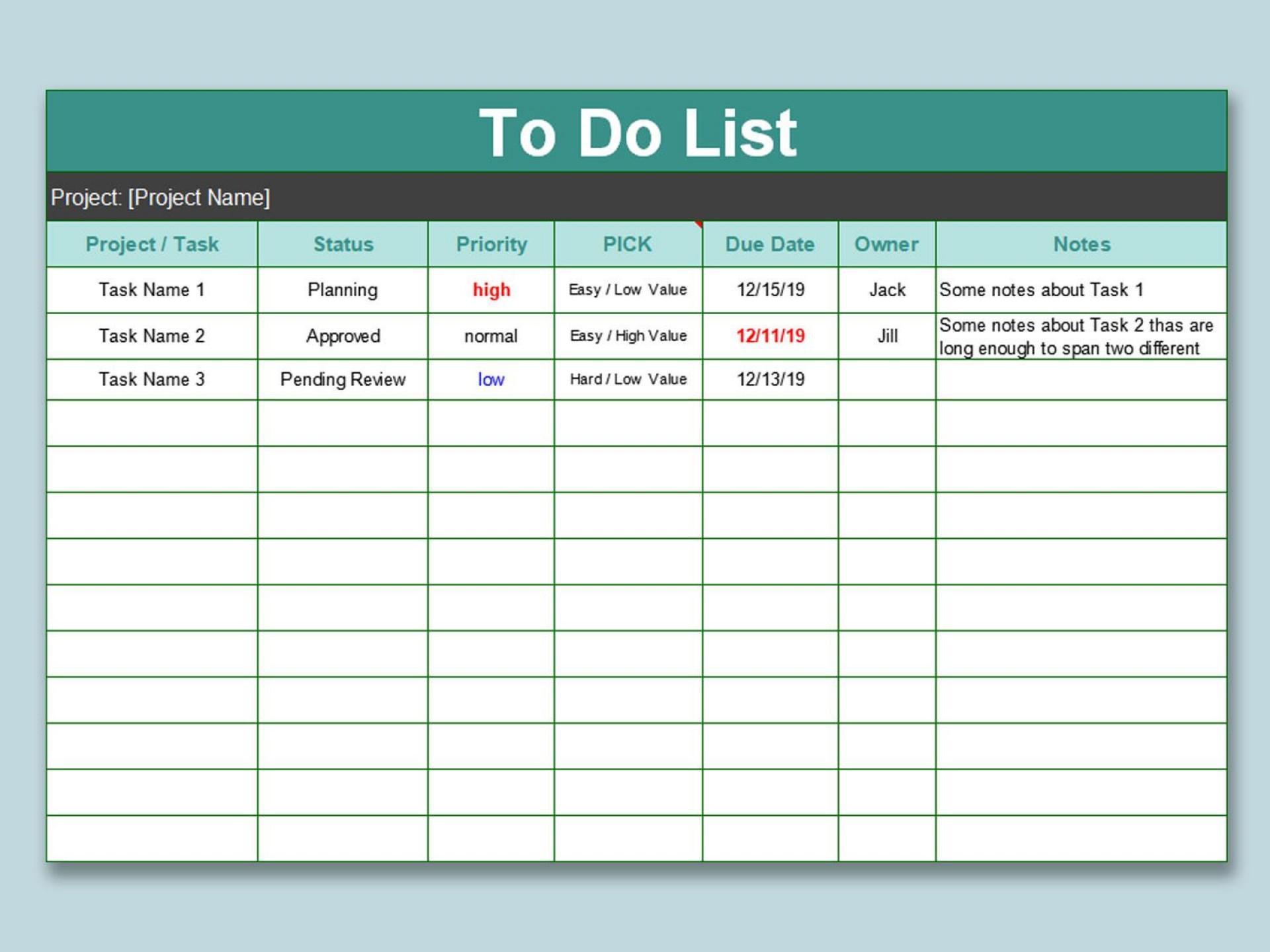 000 Wondrou Excel To Do List Template Image  Xlsx Best1920