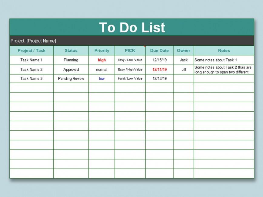 000 Wondrou Excel To Do List Template Image  Daily Spreadsheet Task