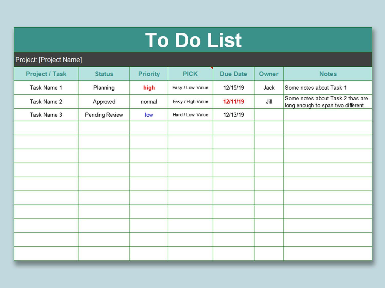 000 Wondrou Excel To Do List Template Image  Xlsx BestFull
