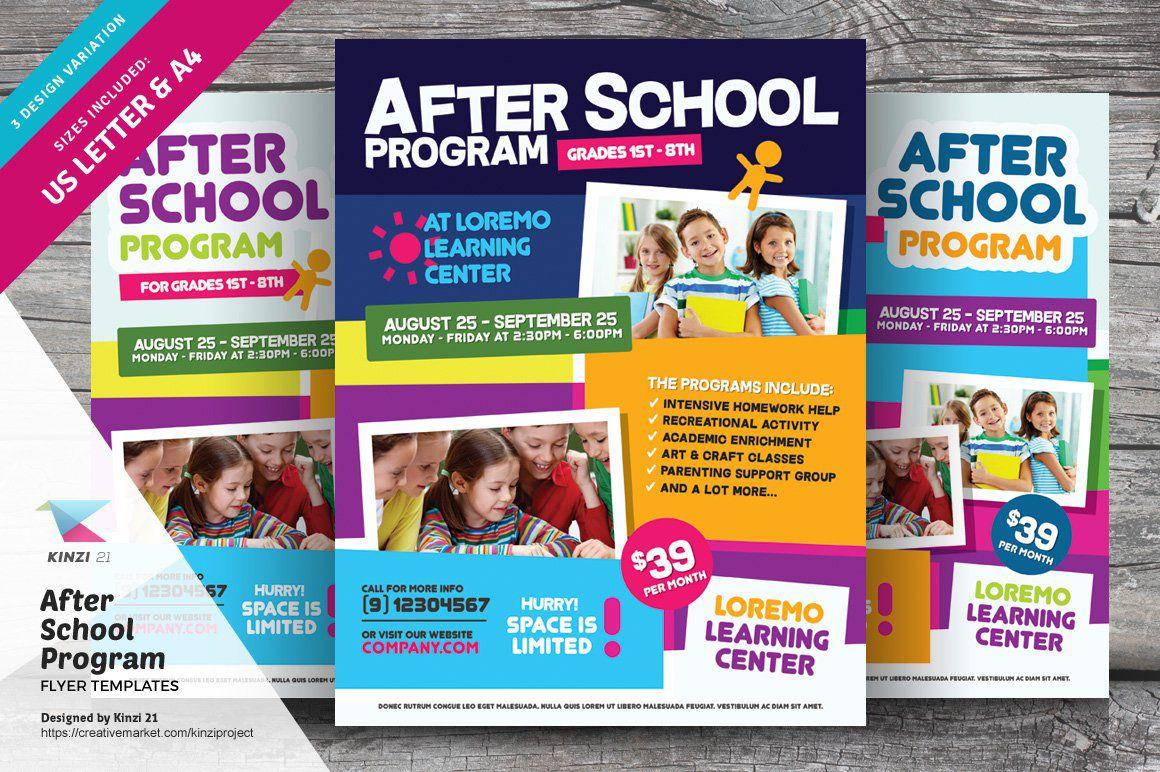 000 Wondrou Free After School Flyer Template Photo  TemplatesFull